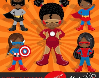 Superhero Clipart. Superhero Costumes - African American Girls- Clipart – Superhero comic bubbles, splash background & cute characters.