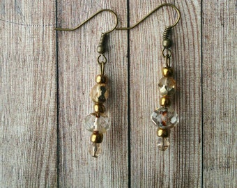 Bronze and  Champagne Boho Picasso Bead Earrings