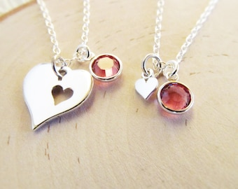 Personalized Necklace Set for Mother and Daughter with Birthstones, Sterling Silver Piece of my Heart Necklaces, Gift for Mom from Daughter