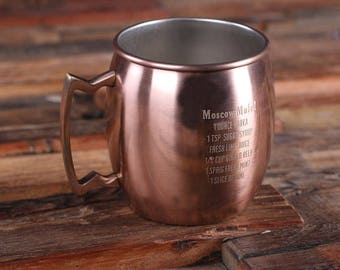Set of 7 Personalized Moscow Mule Mug  with Classic Recipe Groomsmen, Bartender Gift for Him (025179) Copper Finish