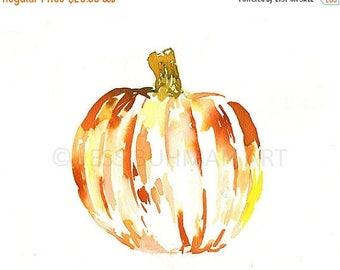 Pumpkin by Jessica Buhman, Print of Original Watercolor Painting, 8 x 10 Orange Red Yellow Halloween Pumpkin