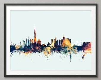 Dubai Skyline, Dubai UAE Cityscape Art Print (1842)