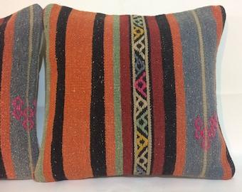 Vintage Kilim Pillow, Pair Pillows, Kilim Pillow Pair, Orange Pillow, Pair Cushions, Set Pair Pillows, Pair 16x16 Pillows, Wedding Gifts
