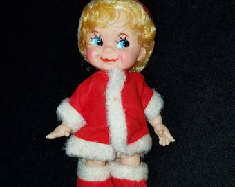 Vintage Made in Japan Girl Doll in Santa Suit