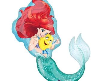 "Little Mermaid Birthday Party Balloon - Ariel Birthday Balloon - 34"" Little Mermaid Balloon - Under the Sea - Disney Little Mermaid Party"