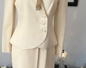 SALE 50% off! 70s White Skirt and Blazer Suit New with Tags by Bert Newman for I. Magnin Perfect Simple Wedding or Rehearsal Dinner Outfit!