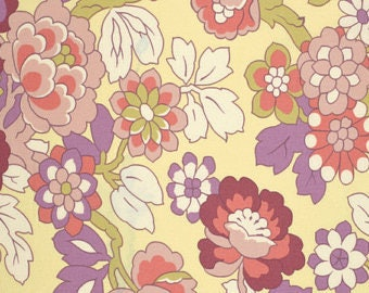Amy Butler Gypsy Caravan SALE 1 YD | Cutting Garden Linen | Yellow Floral cotton quilting Fabric By the Yard | Discount Amy Butler Fabric
