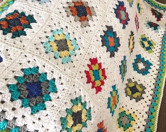 Handmade Crochet Granny Square Baby Boy Blanket Ready To Ship ~SHIPS FREE~