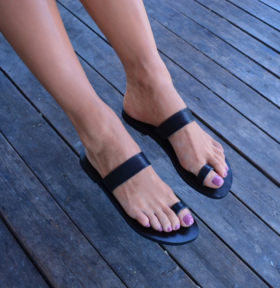 ring Greek Strap Sandals Sandals Greek Leather Flats Leather Sandals Toe Black Sandals Genuine ''Korinna'' Classic Ht7frt