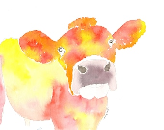 Animal portraits Cow pictures, Jersey Cow, giclee print, animal print cow prints, yellow farm house decor, farm animals ,cows by dylshouse