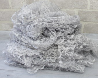 12 inch wide Silver Lace Remnants, Wedding shower decor, sewing and craft
