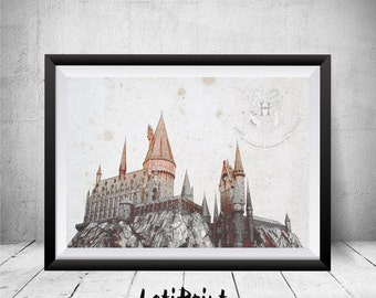 Harry Potter Print, Hogwarts Castle Print, Hogwarts Art Print, Wall Art Decor, Watercolor Painting, Kids Decor, Nursery Decor, Printable Art