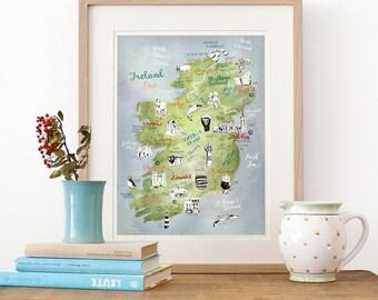 Ireland Map, Art Print, illustrated map Ireland, Ireland poster, Ireland art, Irish map, travel illustration, farewell gift, giclee print