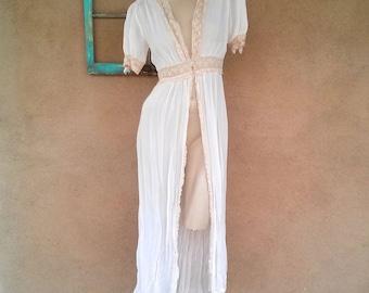 Vintage 1940s Silk Robe Wrapper Peach Chiffon 40s Dressing Gown B36 W26 US6