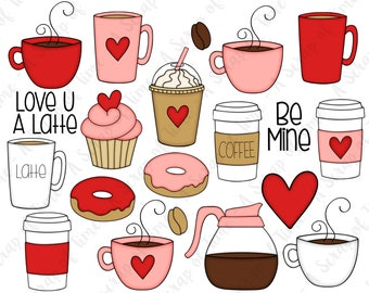 Valentine Coffee Hand Drawn Digital Clipart - Set of 20 - Latte, Valentine's Day, Cupcake, Heart - Instant Download - Item #9177