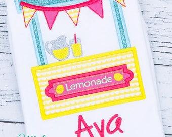 Lemonade Stand Applique Tee, Lemonade Birthday, Mason Jar Birthday Shirt or Bodysuit, Pink Lemonade Birthday, Lemonade Bubble