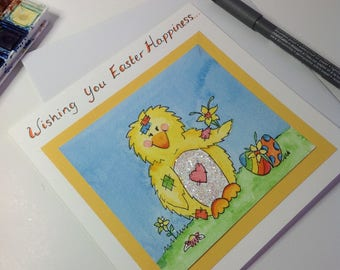 Hand Drawn Easter Chick Card, Spring Chicken Easter Card, Watercolor Easter Card, Cute Easter Card, Yellow Chicken Card,Blank Card