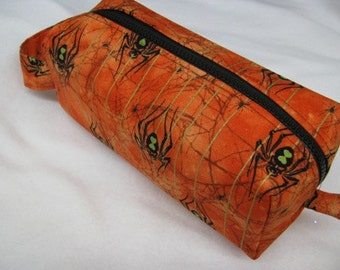 Golden Metallic Thread Halloween Spider Pencil Bag Craft Bag Cosmetic Bag Makeup Bag Shaving Kit LARGE