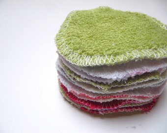 Reusable Facial Rounds, Cosmetic Rounds With Terry Cloth Backing, Makeup Remover Pads, Terry And Flannel Facial Pads, Set of 10 or 20