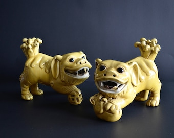 Vintage Pair of Chinese Mustard Yellow Glaze Foo Dogs Antique Foo Dog Statues Foo Dog Pottery Figures