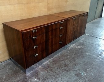 American modern MCM two piece rosewood and chrome four drawer dresser / cabinet
