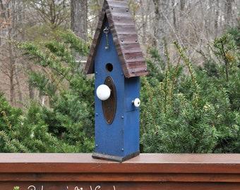 """Blue Rustic Birdhouse ~ """"The Loft"""" - Unique Birdhouse - Wooden Birdhouse - Outdoor Birdhouse - Vintage Birdhouse - Painted Birdhouse"""