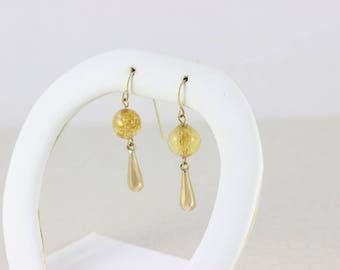 14k Yellow Gold Ball Dangle Drop Earrings