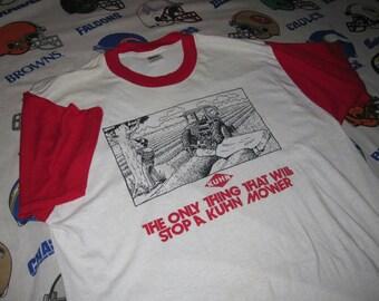 KUHN MOWERS vintage 1980s ringer shirt - sz xl - Tranch 50/50 soft thin emo tee