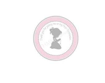 Pink Thank You Gift Tags DIY Printable Blessed Girl Communion Cross Favor Digital INSTANT DOWNLOAD Party Tags/Toppers