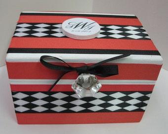 Newlywed Recipe Box -Harlequin Pattern