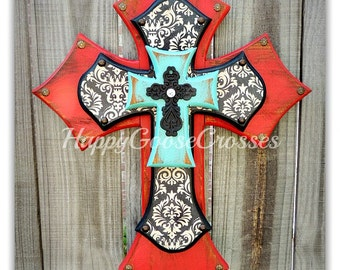 Wall Cross - Wood Cross - Medium - Antiqued Red & Turquoise with Aged Black/Cream damask