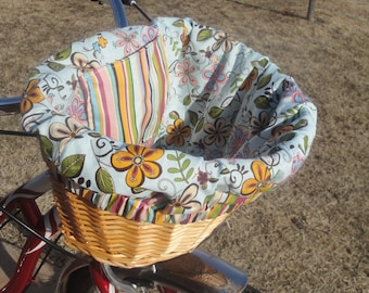 Blue pink and orange Floral Bike Basket liner for Bell Lotus, Huffy, Electra Bike baskets Metal Wire Wicker or Mesh