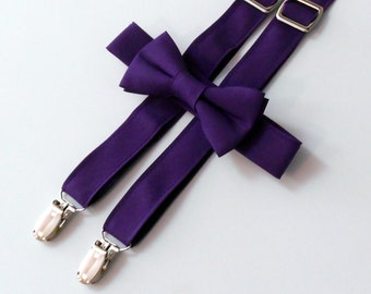 Purple Bowtie and Suspender Set - Infant, Toddler, Boy  2 weeks before shipping