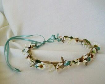 Aqua Brides Maid beach Flower Crown Hair Wreath-Krystle-flower girl Wedding Bridal party robin egg blue boho halo accessories fairy garland