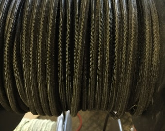 6 ft Black Fabric 18/3 wire - Industrial lamp wire - Vintage lamp wire - UL listed pendant wire