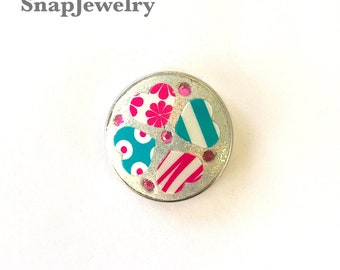 Snap Jewelry - Crystals & Clay Snap made with Apoxie Sculpt and Jamberry Nail decals (hearts)