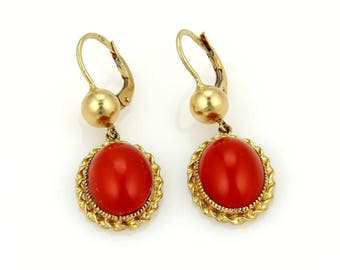 15086 - Vintage Blood Coral Oval Drop Dangle Earrings in 18k Yellow Gold