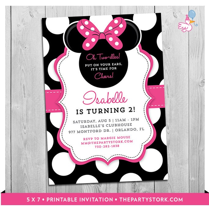 Minnie Mouse 2nd Birthday Invitations Printable Girls Party