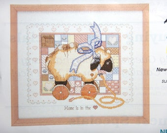 """Creative Circle Counted Cross Stitch Kit 0907 Home Is In The Heart Sampler Sheep 12"""" X 14"""" -8"""