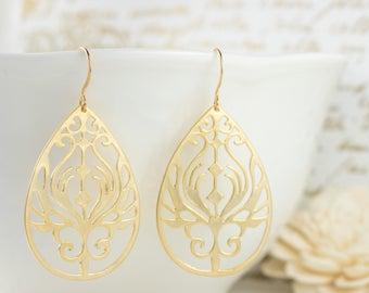 Large Gold Boho Earrings, Gold Filigree Earrings, Gold Earrings, Large Gold Earrings, Gold Dangle Earrings