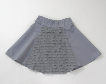 Girls Twirl Skirt, Girls Ruffle Skirt, Gray Skirt, Twirl Skirt, A-line Skirt, Size 7/8 Girls