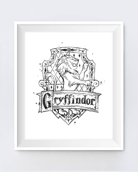 High Quality Gryffindor Crest Black And White Harry Potter Gifts Hogwarts Slytherin  Printable Niffler Illustration Gryffindor Wall Art Digital Download