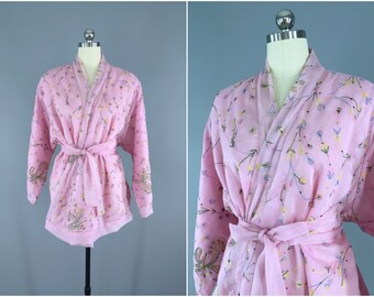Silk Kimono Cardigan / Kimono Jacket / Vintage Indian Sari / Short Silk Robe Wedding Lingerie / Bohemian Embroidered Pink Chiffon 9001073