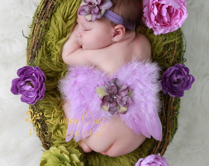 Vintage Lilac Angel Baby Wings and/or Matching Delphinium Flower Headband, for newborns, photographers, by Lil Miss Sweet Pea