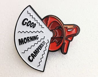 Good Morning Campers enamel pin, retro campers, soft enamel, red megaphone, lapel pin, happy campers, camping gift, backpack pin, flair