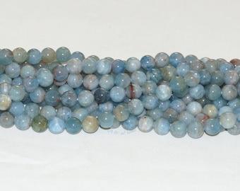 "Aquamarine Multi Color Beryl 10mm Gemstone Round Bead - 15.5"" Strand"