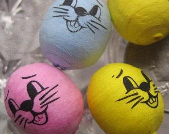 12 Spun Cotton Easter Bunny Heads Rabbit Head Czech Republic