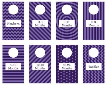 PRINTABLE - Dark Purple- Closet Dividers - Baby Room - Nursery Decor - Nursery Organization - Baby Shower Gift - Gender Neutral