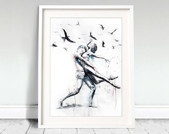 Wall art, dancing couple. Let her do. Watercolor dancing couple with flying birds. Wall art, wall decor, digital print.
