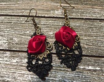 Christmas Rose Earrings